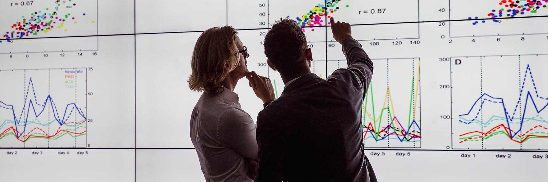 Two students point at a graph on the screens in the Visualization Lab in Luddy Hall.