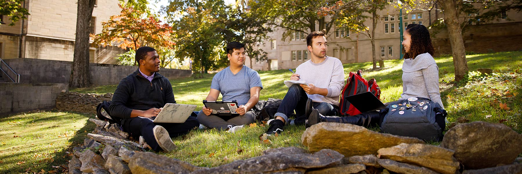 A group of students sits in a greenspace outdoors with their laptops.